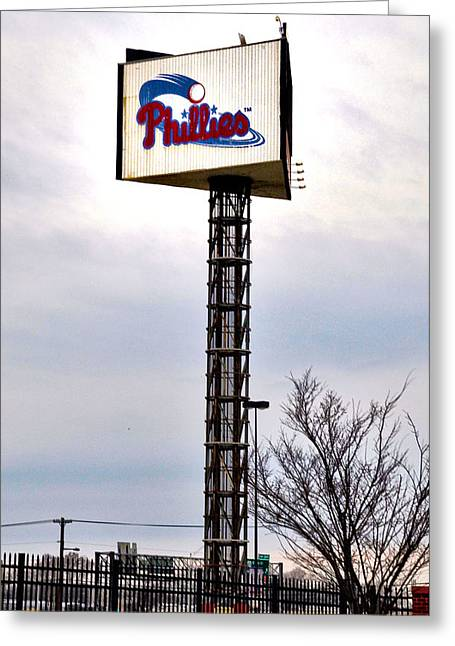 Citizens Bank Greeting Cards - Phillies Stadium Sign Greeting Card by Bill Cannon