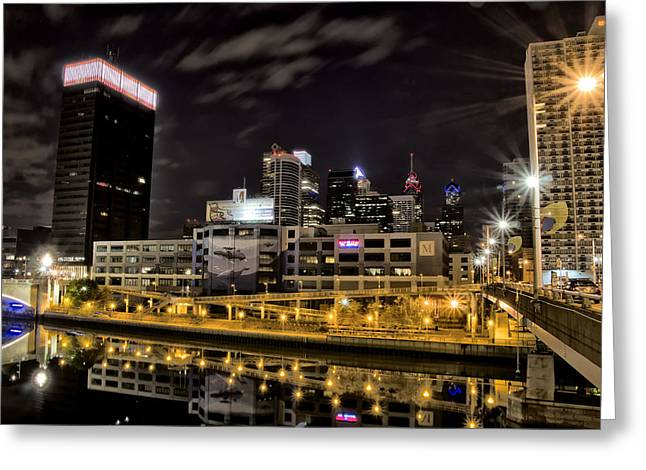 Phillies Digital Greeting Cards - Philly at Night Greeting Card by Bill Cannon
