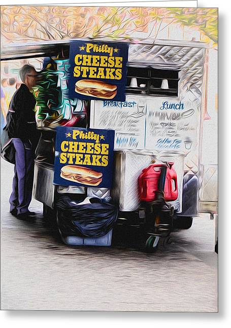 Phillies Digital Greeting Cards - Philly Cheese Steak Cart Greeting Card by Bill Cannon