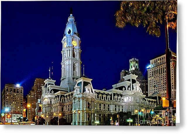 Philadelphia Greeting Cards - Philly City Hall at night Greeting Card by Nick Zelinsky