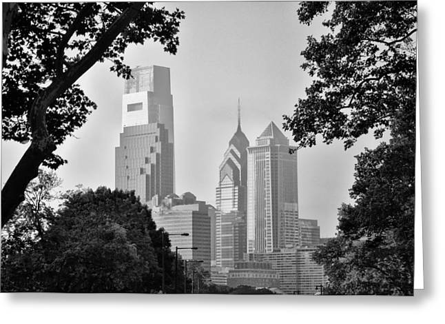 Phillies Digital Greeting Cards - Philly in Black and White Greeting Card by Bill Cannon