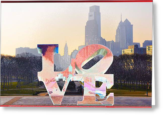 Phillies Digital Greeting Cards - Philly Love Greeting Card by Bill Cannon
