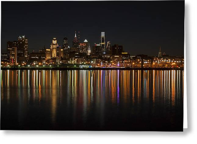 Philly Night Greeting Card by Jennifer Ancker