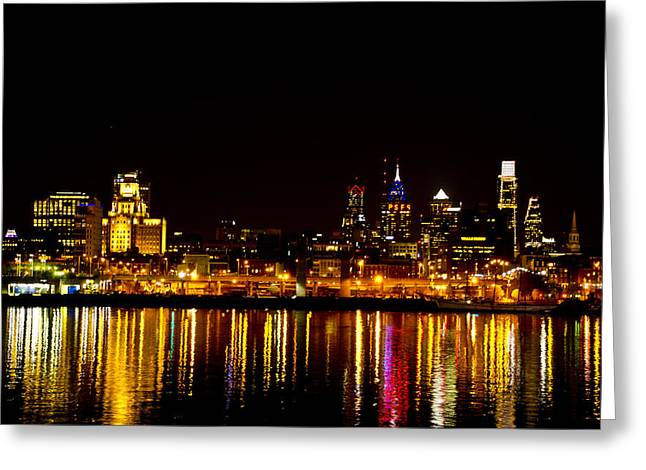 Phillies Digital Greeting Cards - Philly Nights Greeting Card by Bill Cannon