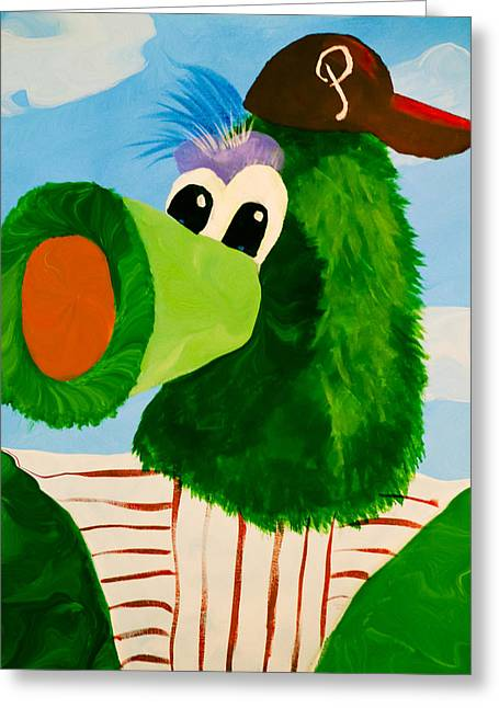 Phillies Mixed Media Greeting Cards - Philly Phanatic Greeting Card by Trish Tritz