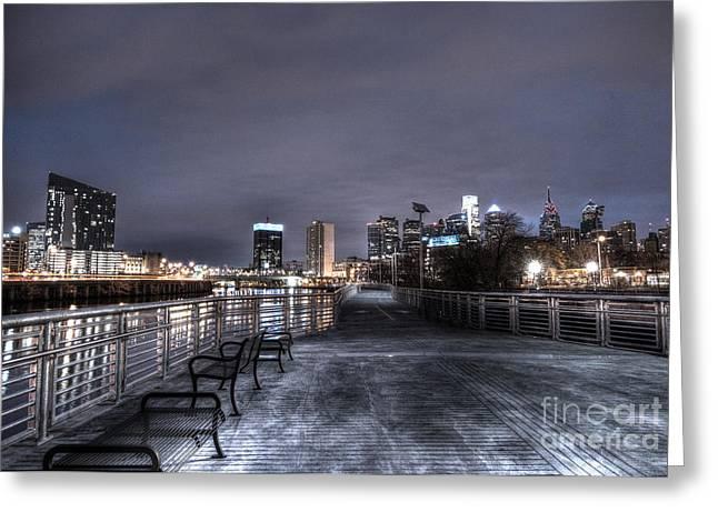 Williams Dam Greeting Cards - Philly Skyline Along the Riverwalk Greeting Card by Mark Ayzenberg