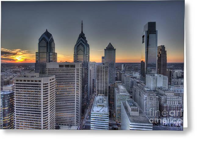 Williams Dam Greeting Cards - Philly Skyline Birdseye Greeting Card by Mark Ayzenberg