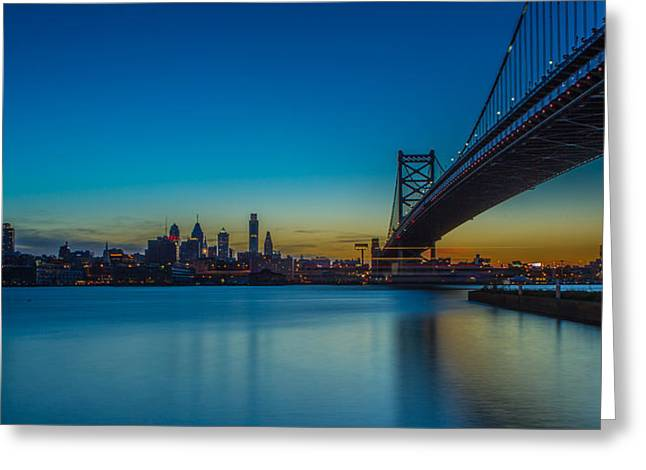 Ben Franklin Bridge Greeting Cards - Philly Skyline Greeting Card by David Hahn