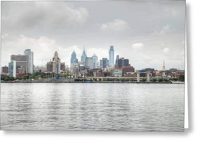 Cityscape Greeting Cards - Philly Skyline Greeting Card by Jennifer Lyon