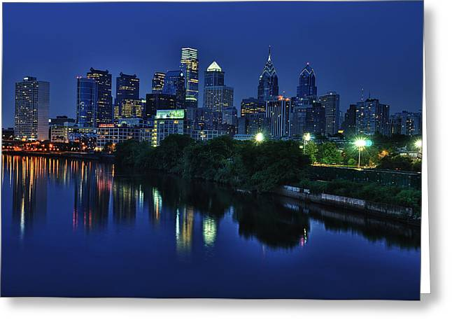 Street Photographs Greeting Cards - Philly Skyline Greeting Card by Mark Fuller