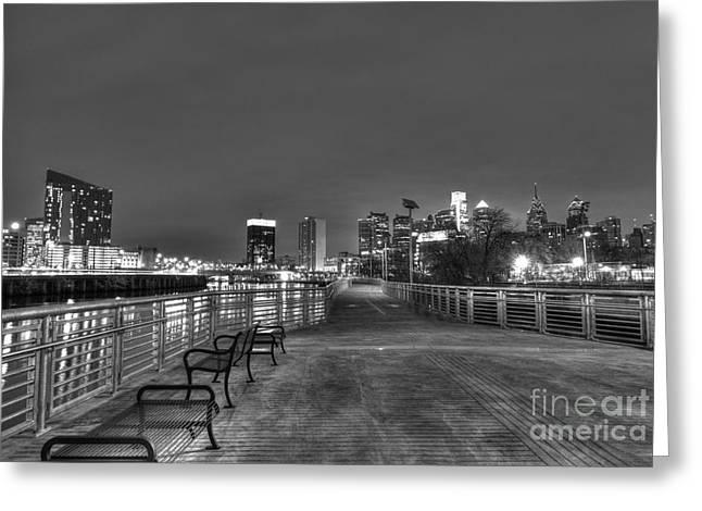 Williams Dam Greeting Cards - Philly Skyline Riverwalk Greeting Card by Mark Ayzenberg