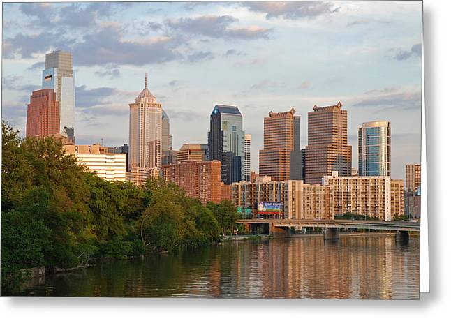 Schuylkill Greeting Cards - Philly summer skyline Greeting Card by Jennifer Lyon