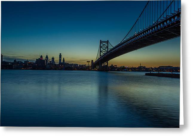 Ben Franklin Bridge Greeting Cards - Philly Sunset Greeting Card by David Hahn