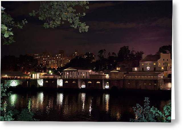Phillies Art Digital Art Greeting Cards - Philly Waterworks at Night Greeting Card by Bill Cannon