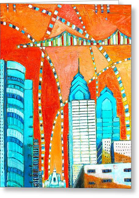 South Philadelphia Paintings Greeting Cards - Phillyscape 1 Greeting Card by Habib Ayat