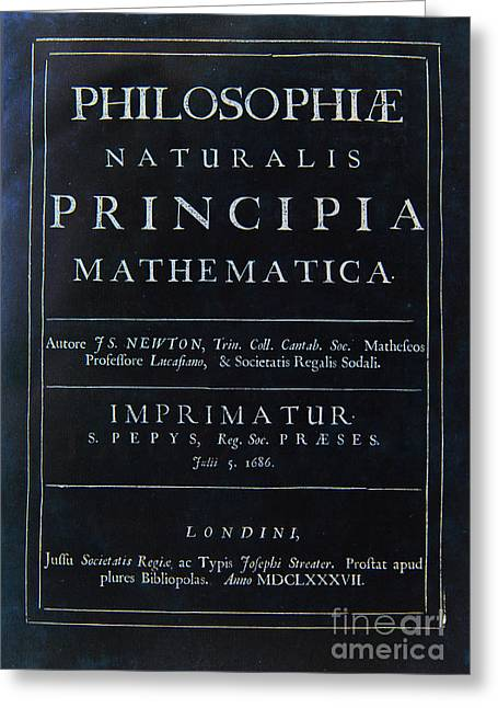 Rare Books Greeting Cards - Philosophiae Naturalis Principia Mathematica Greeting Card by Celestial Images