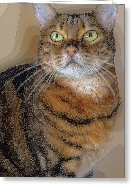 Marble Eye Greeting Cards - Philosophical Cat Greeting Card by Angela Rowlands