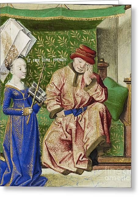 Consolation Greeting Cards - Philosophy Consoling Boethius Greeting Card by Getty Research Institute