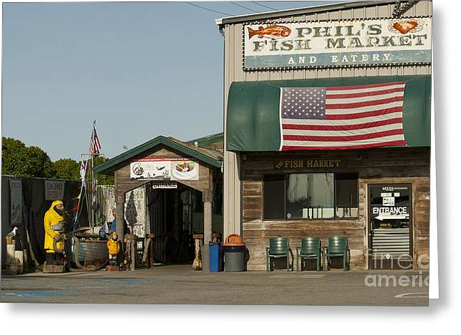 Restaurants In Moss Landing Ca Greeting Cards - Phils Fish Market Moss Landing Greeting Card by Artist and Photographer Laura Wrede