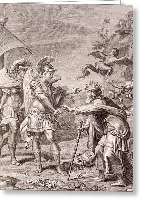 Engraving Greeting Cards - Phineus is Delivered from the Harpies by Calais and Zethes Greeting Card by Bernard Picart