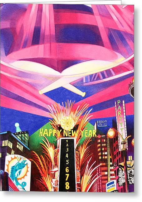 New Year Drawings Greeting Cards - Phish New Years in New York Middle Greeting Card by Joshua Morton