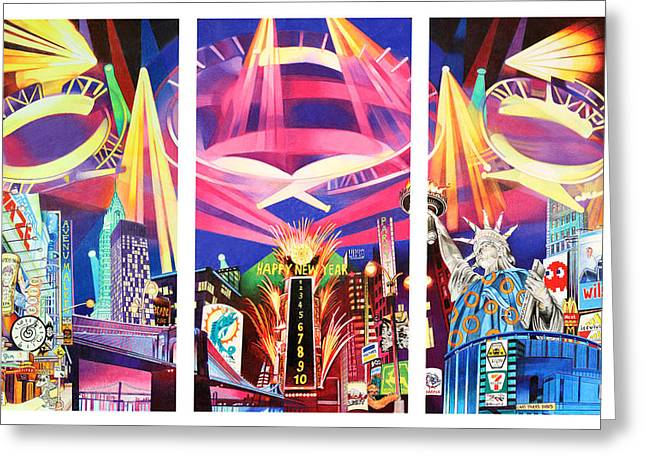 Madison Greeting Cards - Phish New York for New Years Triptych Greeting Card by Joshua Morton