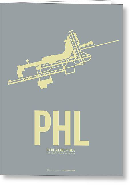 Tourists Digital Art Greeting Cards - PHL Philadelphia Airport Poster 1 Greeting Card by Naxart Studio