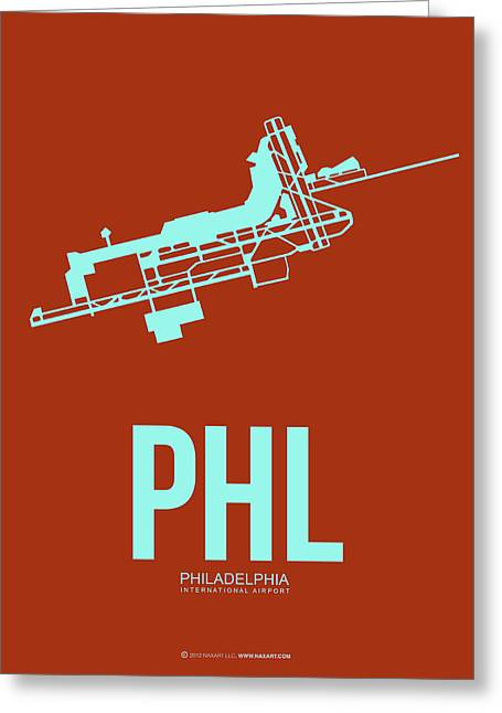 Tourists Digital Art Greeting Cards - PHL Philadelphia Airport Poster 2 Greeting Card by Naxart Studio