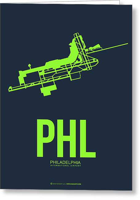 Tourists Digital Art Greeting Cards - PHL Philadelphia Airport Poster 3 Greeting Card by Naxart Studio
