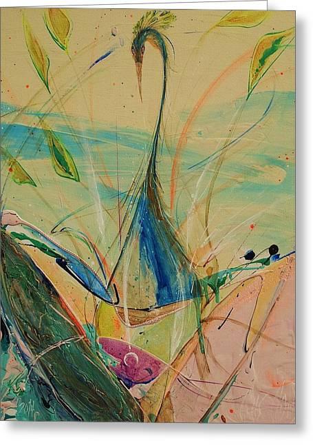 Ultra Modern Paintings Greeting Cards - Phoenix 5  Greeting Card by Chris Cloud