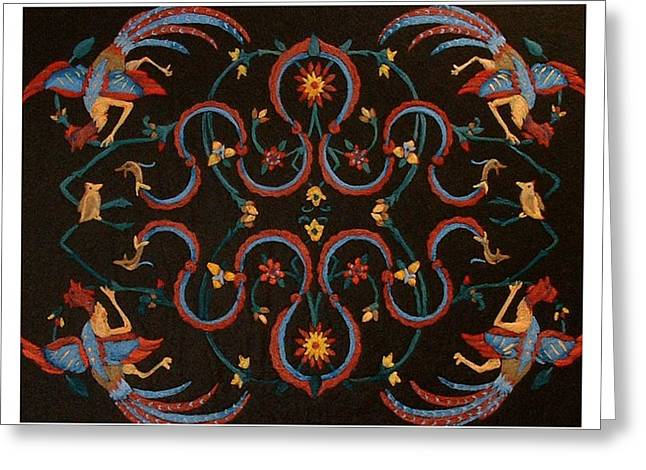 Phoenix Tapestries - Textiles Greeting Cards - Phoenix and Dragon Greeting Card by Bonnie Nash