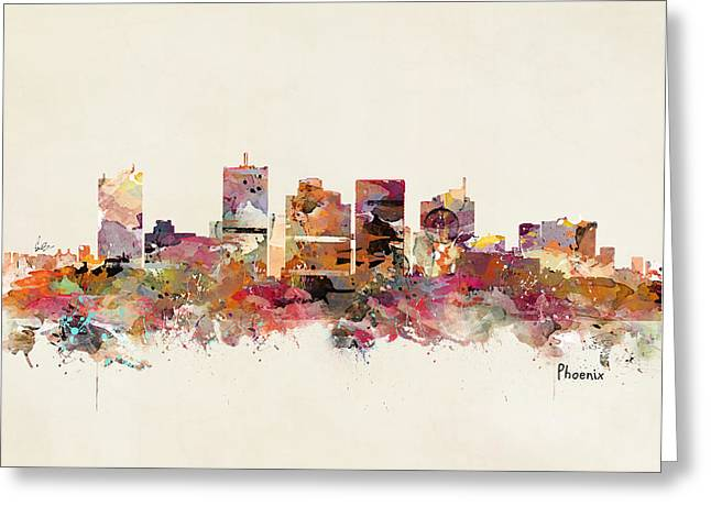 Phoenix Posters Greeting Cards - Phoenix Arizona Greeting Card by Bri Buckley
