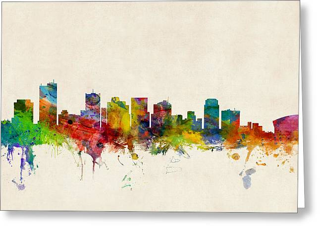 Arizona Posters Greeting Cards - Phoenix Arizona Skyline Greeting Card by Michael Tompsett