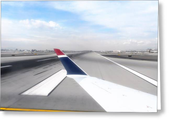 Airoplane Greeting Cards - Phoenix AZ Airport Wing Tip View Greeting Card by Thomas Woolworth
