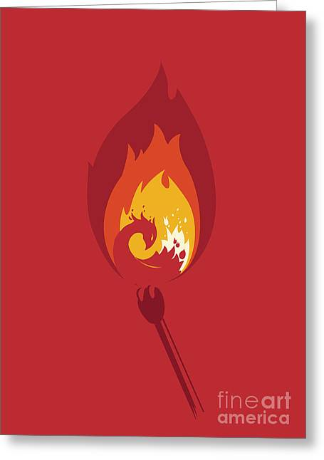 Burning Greeting Cards - Phoenix Greeting Card by Budi Satria Kwan