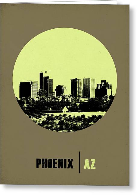 Phoenix Posters Greeting Cards - Phoenix Circle Poster 1 Greeting Card by Naxart Studio