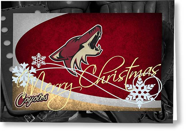 Phoenix Greeting Cards Greeting Cards - Phoenix Coyotes Christmas Greeting Card by Joe Hamilton