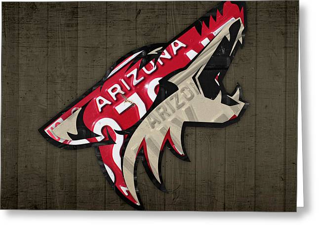 Coyote Art Greeting Cards - Phoenix Coyotes Retro Hockey Team Logo Recycled Arizona License Plate Art Greeting Card by Design Turnpike
