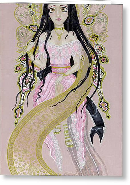 Winged Goddess Mixed Media Greeting Cards - Phoenix Fairy Greeting Card by Jennifer  Anne Esposito