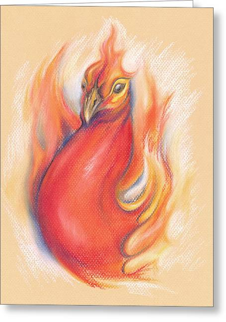 Fantasy Creatures Pastels Greeting Cards - Phoenix in the Flames Greeting Card by MM Anderson