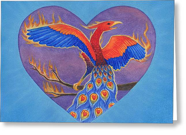 Funds Mixed Media Greeting Cards - Phoenix Greeting Card by Lisa Kretchman