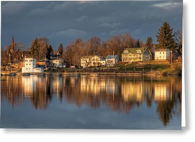 Reflection Of A Village - Phoenix Ny Greeting Card by Everet Regal