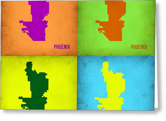 Phoenix Greeting Cards - Phoenix Pop Art Map Greeting Card by Naxart Studio