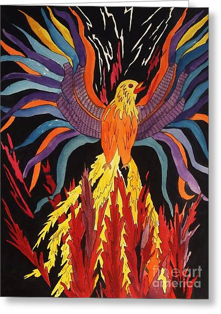 Phoenix Lightning Paintings Greeting Cards - Phoenix Rising Greeting Card by Ellen Levinson