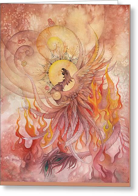Transformations Paintings Greeting Cards - Phoenix Rising Greeting Card by Ellen Starr