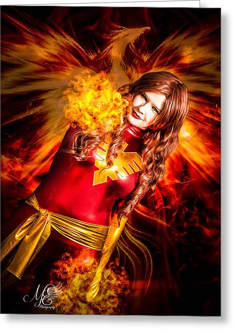 Cosplay Photographs Greeting Cards - Phoenix Rising Greeting Card by Kim Smith