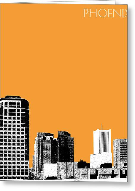 Phoenix Architecture Greeting Cards - Phoenix Skyline - Orange Greeting Card by DB Artist