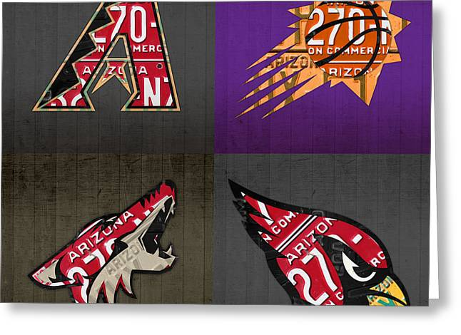 Coyote Art Greeting Cards - Phoenix Sports Fan Recycled Vintage Arizona License Plate Art Diamondbacks Suns Coyotes Cardinals Greeting Card by Design Turnpike