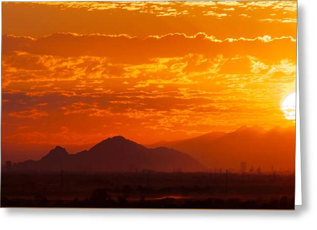 Camelback Mountain Greeting Cards - Phoenix Sunrise Greeting Card by Ed  Cheremet