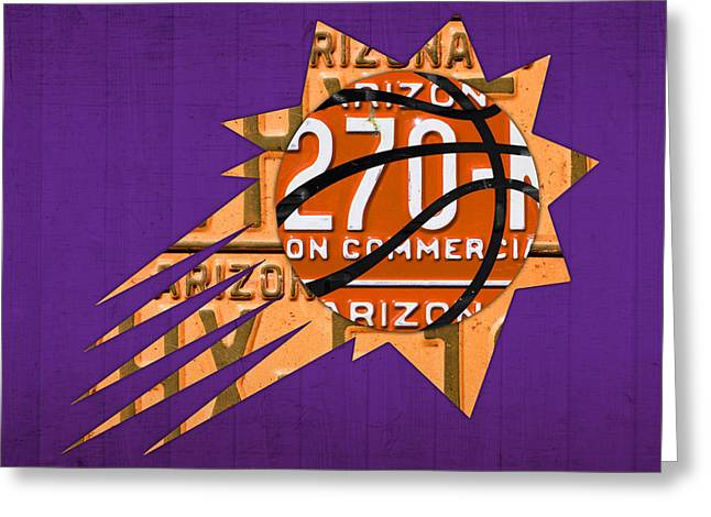 Basketball Team Greeting Cards - Phoenix Suns Basketball Team Retro Logo Vintage Recycled Arizona License Plate Art Greeting Card by Design Turnpike